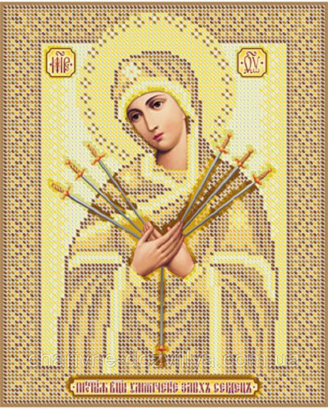 """Схема для вышивки бисером икона """"Богородица Семистрельная""""(золото)"""
