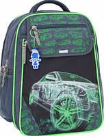 Детский школьный рюкзак для мальчика Bagland Отличник с ортопедической спинкой (принт серый машина) 20 л , фото 1