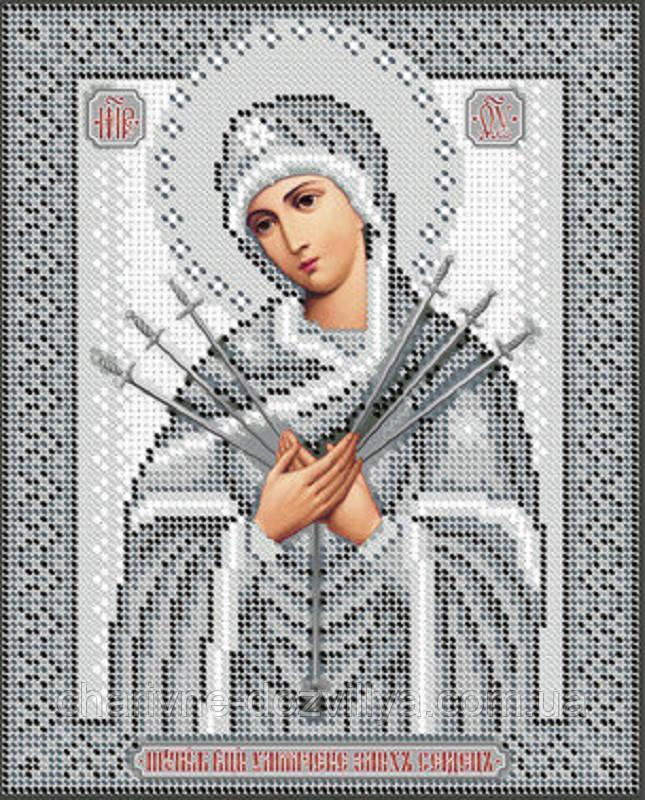 """Схема для вышивки бисером икона """"Богородица Семистрельная""""(серебро)"""