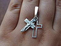 Новинка! Двойной Серебряный крест с золотой вставкой, фото 1