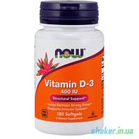 Витамины NOW Vitamin D-3 400 IU (180 капс) витамин д3 нау