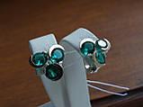 Серебряные серьги с золотой пластиной и зеленым аквамарином, фото 4