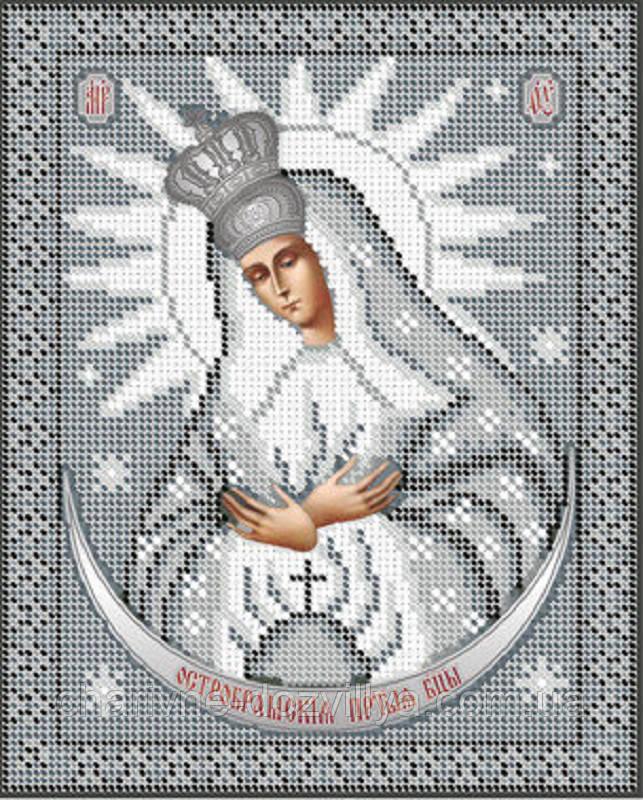 """Схема для вышивки бисером икона """"Образ Пресвятой Богородицы Остробрамская""""(серебро)"""