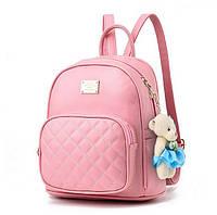 Рюкзак женский городской из экокожи для девушек, девочек с мишкой (розовый), фото 1