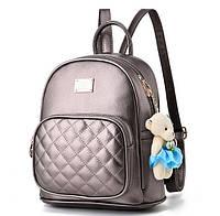 Рюкзак женский городской из экокожи для девушек, девочек с мишкой (бронзовый), фото 1
