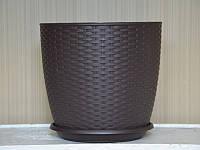 """Вазон """"Ротанг"""" темно-коричневый  30х27,5см."""