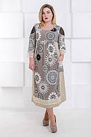 Модное платье из льна батал Лоренс бежевый (58-68), фото 1