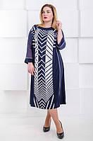 Красивое  летние платье большого размера Клавиши т.синий (60-66), фото 1