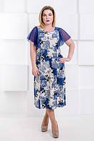 Красивое летнее платье большого размера Крыло сетка (52-58), фото 1