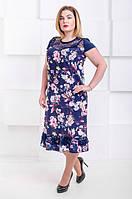 Нарядное летнее платье большой размер Венеция - софт розовый букет (50-66), фото 1