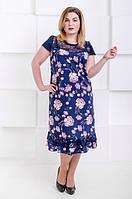Летнее платье размер плюс Венеция - софт розовые цветы (50-66), фото 1