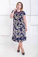 Красивое летнее платье большого размера Венеция - софт желтые цветы (50-66), фото 1