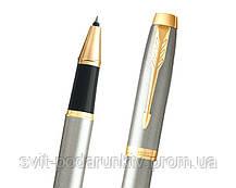 Ручка роллер Parker IM 17 Brushed Metal GT RB 22 222 в подарок, фото 2