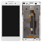 Дисплей (экран) для Sony F3313 Xperia E5 с сенсором (тачскрином) и рамкой белый Оригинал