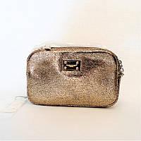 Стильная женская сумочка DAVID DJONES на плечо золотистого цвета BОС-001594, фото 1