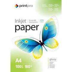 Фотобумага PrintPro глянцевая 180g/m2, A4, 100л (PGE180100A4)
