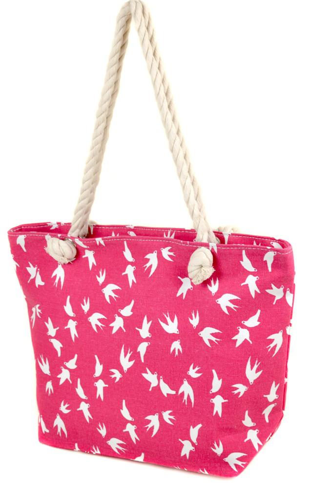 Женская пляжная сумка 2019-1 pink ласточка печать печать пляжные сумки,  пляжные корзинки недорого Одесса 7 км ed85a271012