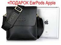 Кожаная мужская сумка POLO Videng барсетка, Поло. +EarPods в Подарок!