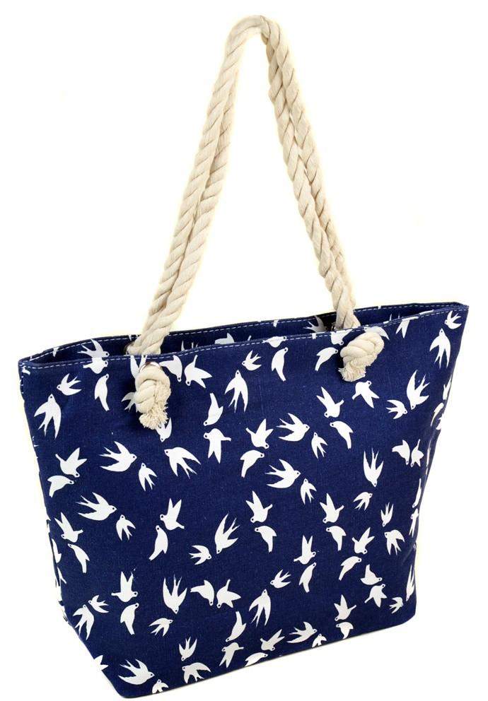 Женская пляжная сумка 2019-1 blue ласточка печать печать пляжные сумки,  пляжные корзинки недорого 233dcc1e681