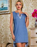 Летнее платье без рукавов с удлиненной спинкой (2254-2661-2660 svt)