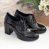 Туфли женские черные лаковые на устойчивом каблуке, фото 1