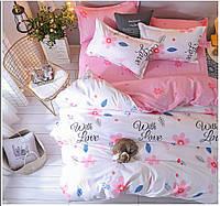 Постельный комплект бело-розовый