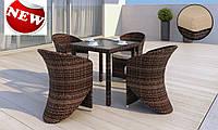 Комплект для кафе плетений Стіл Lepre II 80 x80см  + 4 крісла Aquila