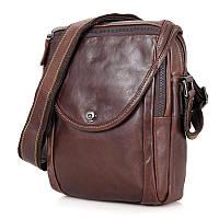 Коричневая кожаная сумка через плечо из кожи 7354LQ, фото 1