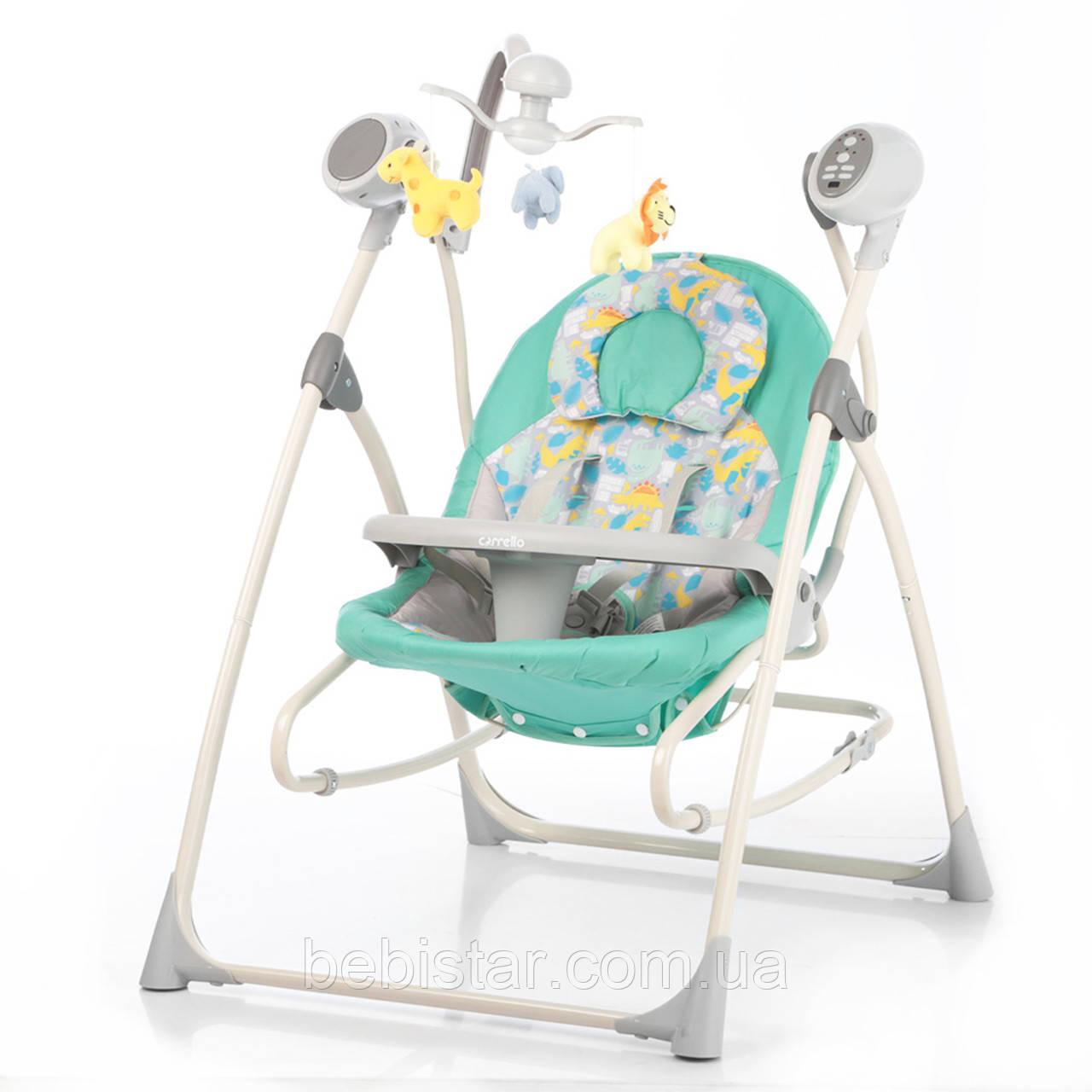 Крісло-гойдалка шезлонг 3в1 м'ята Carrello Nanny з пультом знімний столик вкладиш обертається м'які іграшки