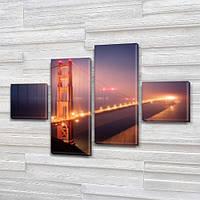 Модульная триптих картина Мост Нью Йорка, на ПВХ ткани, 50x80 см, (18x18-2/45х18-2)