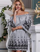 Хлопковое летнее платье с открытыми плечами и вышивкой (2663-2664-2639 svt), фото 3