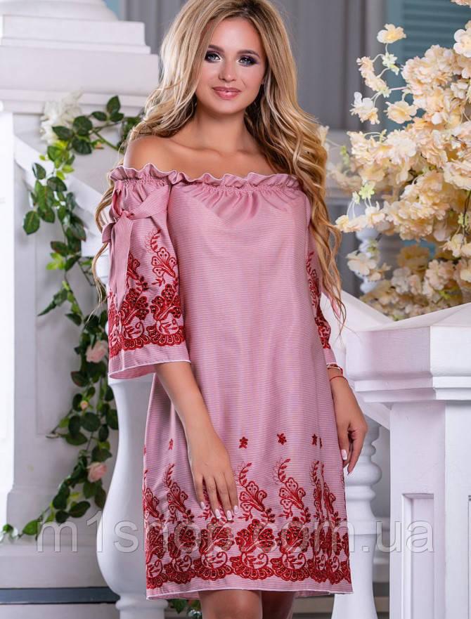 Хлопковое летнее платье с открытыми плечами и вышивкой (2663-2664-2639 svt)