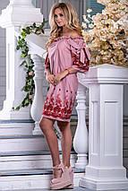 Хлопковое летнее платье с открытыми плечами и вышивкой (2663-2664-2639 svt), фото 2