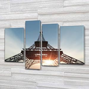 Модульная триптих картина Эйфелева башня, на ПВХ ткани, 65x85 см, (40x20-2/65х18/50x18)