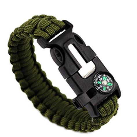 Браслет безопасности для выживания 5 в 1 цвет армейский зеленый, фото 2