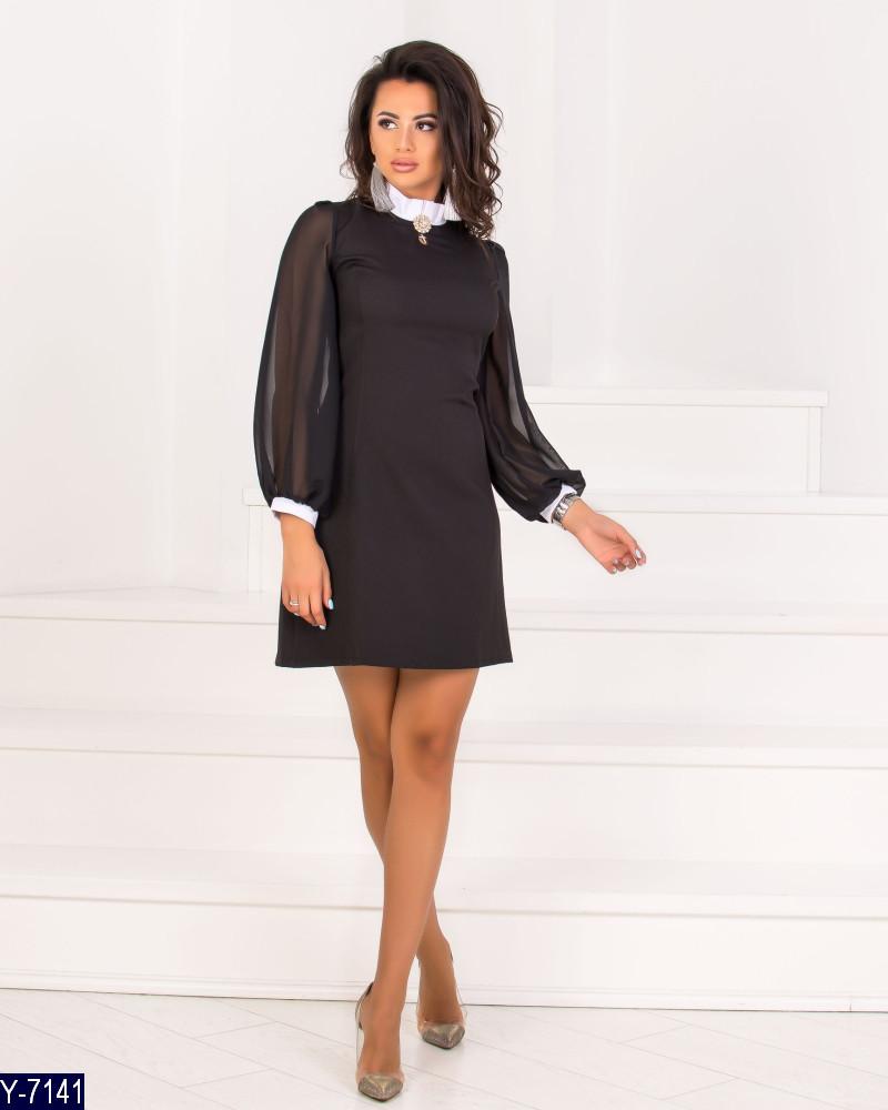 cc6f8d91eb7 Женское платье с белым воротником и манжетами - Интернет- магазин