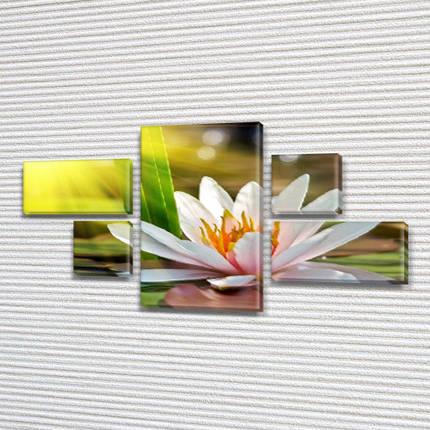 Модульная триптих картина Лилия на воде, на ПВХ ткани, 60x110 см, (18x35-2/18х18-2/60x35), фото 2