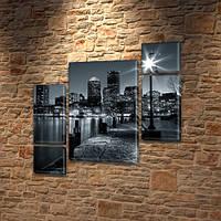 Модульная триптих картина Ночной мегаполис, на ПВХ ткани, 85x85 см, (40x20-2/18х20-2/65x40) 130, 120, ПВХ ткань