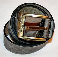 83352 Ремень мужской кожаный джинсовый серый