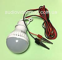 Лампа светодиодная 12V 5Wt для подключения к аккумулятору, кабель 2 метра