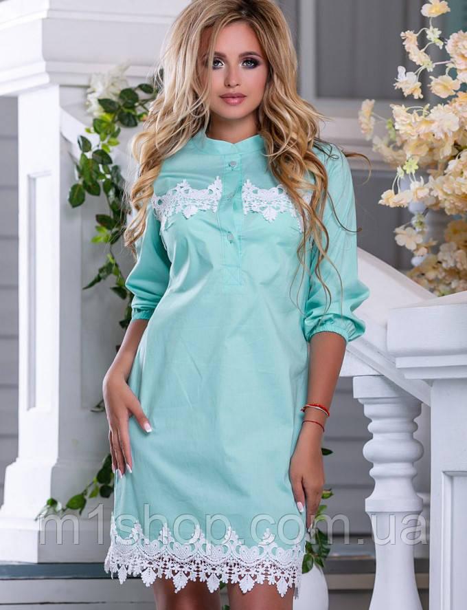 Женское коттоновое платье-рубашка с кружевом (2669-2668-2670-2671 svt)