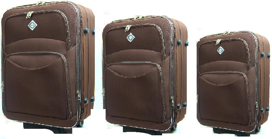 Чемодан Bonro Style набор 3 штуки. Цвет коричневый.