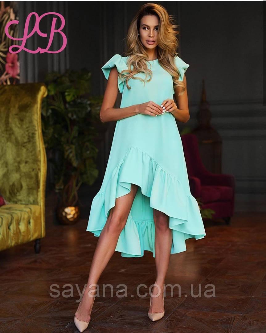 d434da2435b Купить Женское платье с ассиметричной юбкой с воланами
