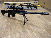 Игрушечная снайперская винтовка 299-А Barrett 98B, на пульках 6мм, фонарик, лазер, копия Барретт