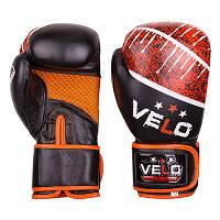 Боксерские перчатки Velo microfiber, кожа, 10oz,12oz, черно-оранжевый