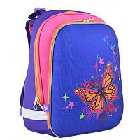 Стильный рюкзак школьный каркасный для девочки ТМ 1 Вересня с принтом Butterfly blue 38*29*15 см