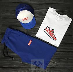 Мужской комплект футболка кепка и шорты Supreme белого и синего цвета (люкс копия)