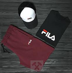 Мужской комплект футболка кепка и шорты Fila белого черного и бордового цвета (люкс копия)