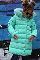 Очень теплое зимнее пальто на девочку  Деника, мех песец