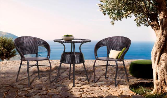 Кресло Catalina + стол Catalina ротанг коричневый (в интерьере, фото 2)